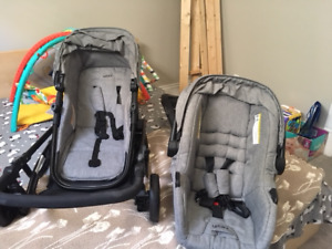 Car seats with stroller.