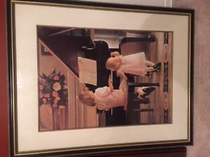 Gorgeous framed picture - 2 kids at piano - 30 inch x 39 inch London Ontario image 1