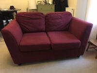 Good quality two-seater maroon sofa (Argos)