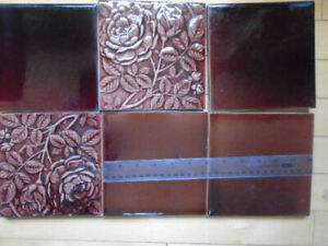 6 Vintage Tiles Only (for Fireplace Cast Iron Insert)