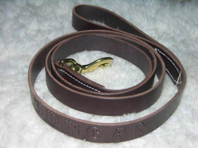 Leather Dog Leash Lead Personalized Amish Made 6' by 1