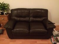 Two seater leather sofa, dark brown