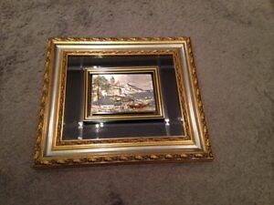Gold Plated 3D Picture-Coast with Boats