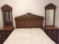 Beautiful vintage queen size bed with two bed side tables