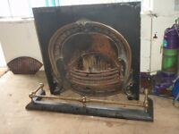 antique cast iron fireplace with fender complete