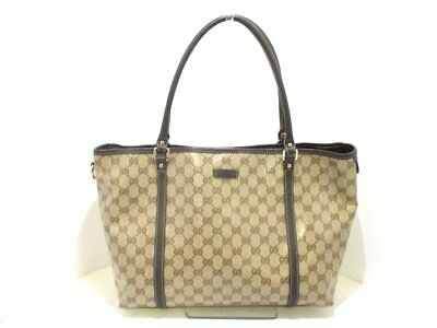 Auth GUCCI Crystal GG 265695 Beige DarkBrown Coated Canvas &  Leather Tote Bag