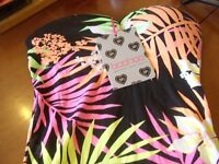 BOOHOO PRINTED BANDEAU BODYCON DRESS SIZE 8 NEW WITH TAGS