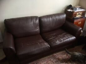Sofa Bed - faux leather 2 seat *FREE*