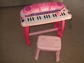 Girls Pink Electronic Keyboard and Microphone