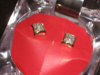 925 Sterling Silver Gold Plated Diamond Earrings appraised