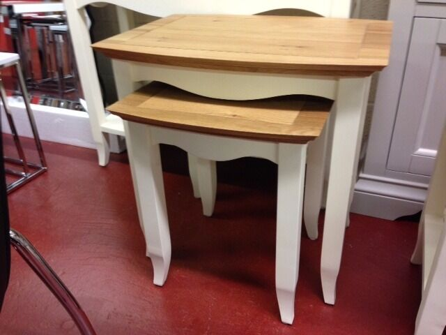 New cream & oak bow fronted nest of tables