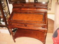 gentlemans/writing desk table/bureaux/ brown/mahogany /beech of fitted draws fold over top