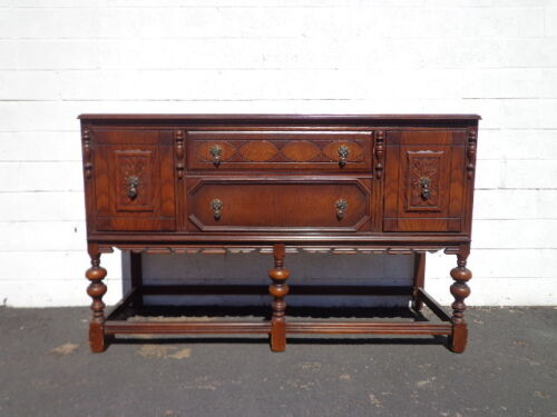 Antique Buffet Cabinet Shabby Chic Primitive Sideboard Hutch Wood TV Media