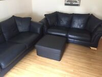 2 Leather Sofa's & Pouffe - Urgent Sale