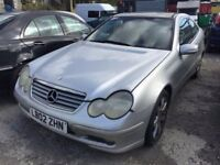 2002 Mercedes C230 automatic, starts and drives, car located in Gravesend Kent, no MOT, hence price,
