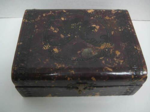 [E] Antique Victorian Velvet Vanity Trinket Jewelry Dresser BOX Celluloid
