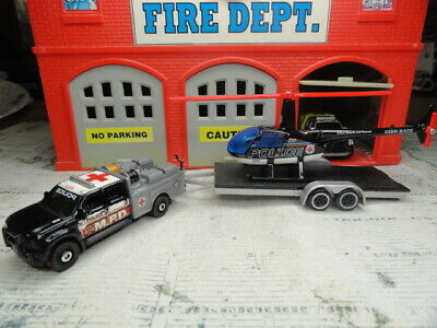 MATCHBOX FIRE FORD F-550 POLICE & HELICOPTER URBAN SEARCH & RESCUE CUSTOM SET