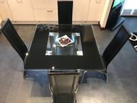 Dining/Kitchen Table & 4 Chairs - Glass/Chrome