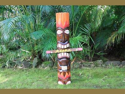 "40"" GOD OF FIRE  TIKI TOTEM - HAND PAINTED - SURF DECOR Exotic Polynesian Decor"