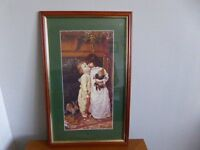 "DELIGHTFUL PRINT - YOUNG BOY AND GIRL ""UNDER THE MISTLETOE"" - DATED 1997 - BY MAURICE INGRE"