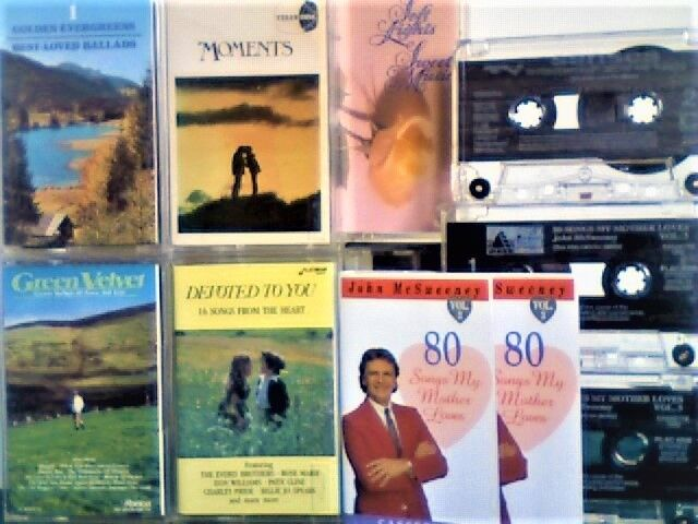 8 COMPILATIONS OF SOFT SENTIMENTAL SONGS, ENDEARING DITTIES AND BALLADS, PRERECORDED CASSETTE TAPES.
