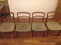 Retro 4 G Plan wood chairs green velvet seat