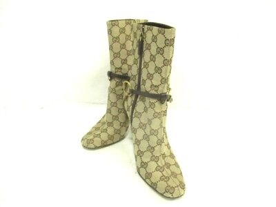 Auth GUCCI GG/Horsebit 115067 Ivory Beige DarkBrown Jacquard & Leather Boots