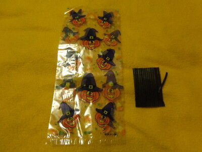 30 Halloween Cellophane Candy Treat Bags Pumpkin Witch Hat w/ Ties