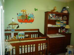 Crib, dresser & hutch, mattress