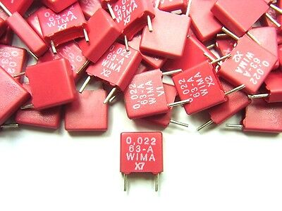 10 Wima .022uf 22nf 63v Quality Rm Audio Capacitors Fuzz Effects Clones New