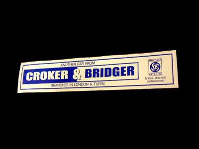 Croker & Bridger Dealer Rear Screen Decal - British Leyland Mini 1275GT Clubman