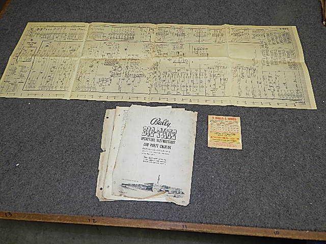 1954 Bally BIG TIME Bingo Operating Instructions Manual & Schematic
