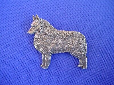 Standing Schipperke Pin #64A  pewter dog jewelry by Cindy A. Conter non sporting