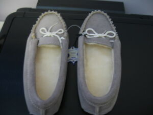 Women Suede Leather Grey Moccasin/ Slipper - Made in Canada-NEW