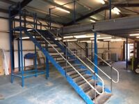 Mezzanine flooring for sale 11.00 m sq, 2100 height 1200mm tread staircase.