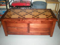 Solid Cedar Tack Chest With Inlay Solid Wood Top