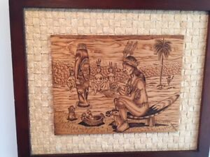 WOOD BURNING ART PIECE BY CUBA NATIVE PEOPLE