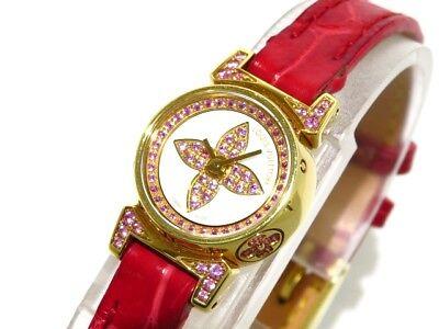 Auth LOUIS VUITTON Tambour Bijou Q15150 White Pink 16/18 Leather Women