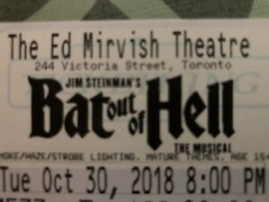 Bat Out of Hell Musical - Pair of Tickets