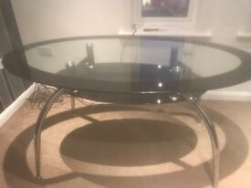 Glass & Black Oval Dinning Table & 6 Black Chairs For Sale
