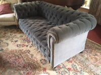 Victorian style large blue velvet chesterfield, button backed.