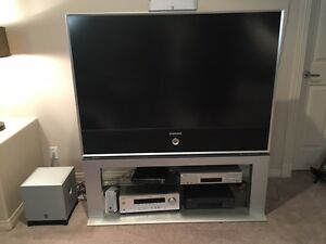 TV with stand and home theater system