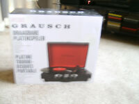 Grauch Briefcase Design Stylish Record Player... Brand New
