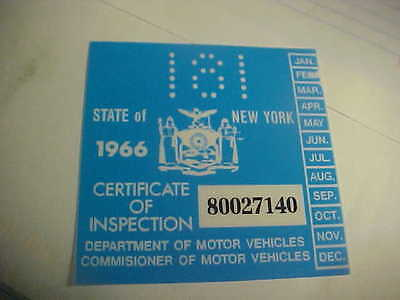 new york 1966 inspection sticker windshild