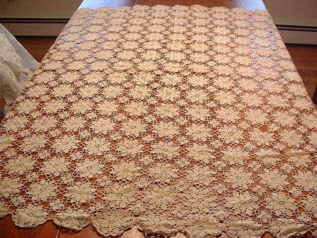 "Large Vintage 56"" x 52"" Crochet Table Cloth"