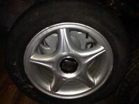 """Genuine Seat 6*14"""" Arosa alloys + centre caps, 2 new tyres, 2 good tyres, SR6"""