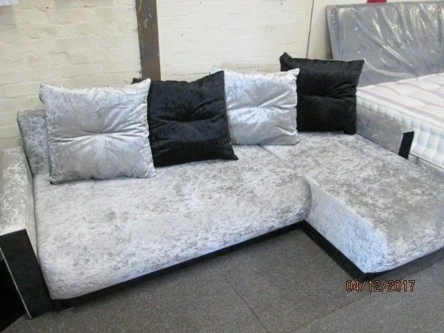 Brand New Silver Black Crushed Velvet Corner Sofa Bed Conversion