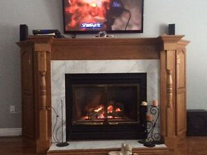 Complete Gas Firplace with Solid Wood Mantel