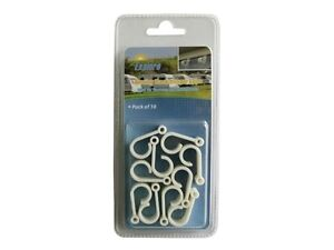 10 pack USA RV awning rail hooks light cord acessory white plastic clips holders