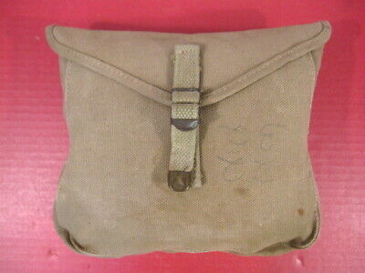 WWII Era US Army M1928 Haversack Meat Can or Mess Kit Pouch - Khaki - XLNT #1